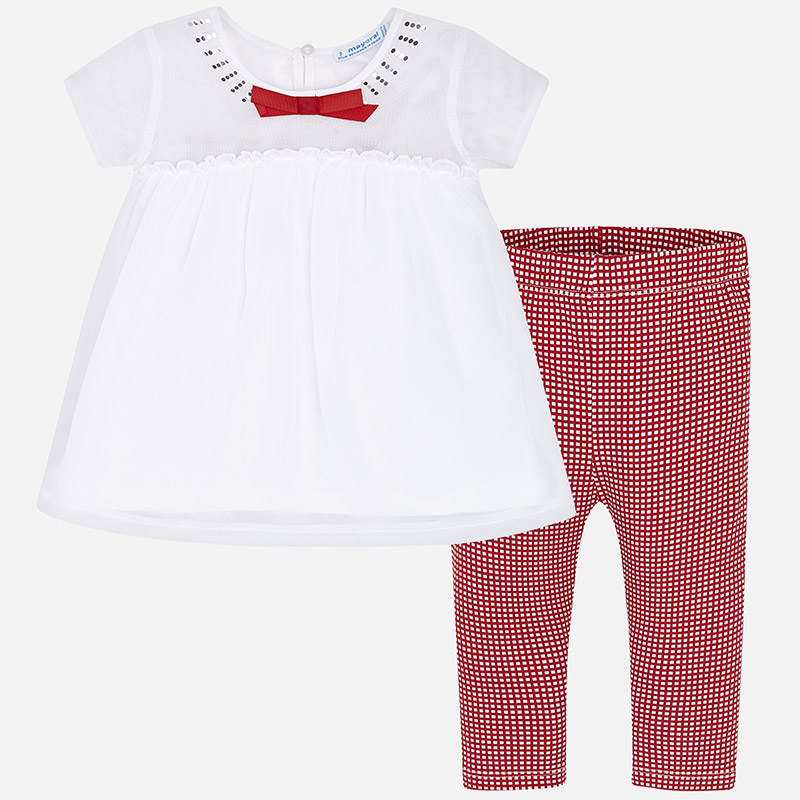 150a8c7f50e Blouse and gingham leggings set for girl Rojo - Mayoral