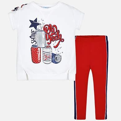 f6dafe89d5f1 T-shirt and side stripe leggings set for girl Navy blue - Mayoral