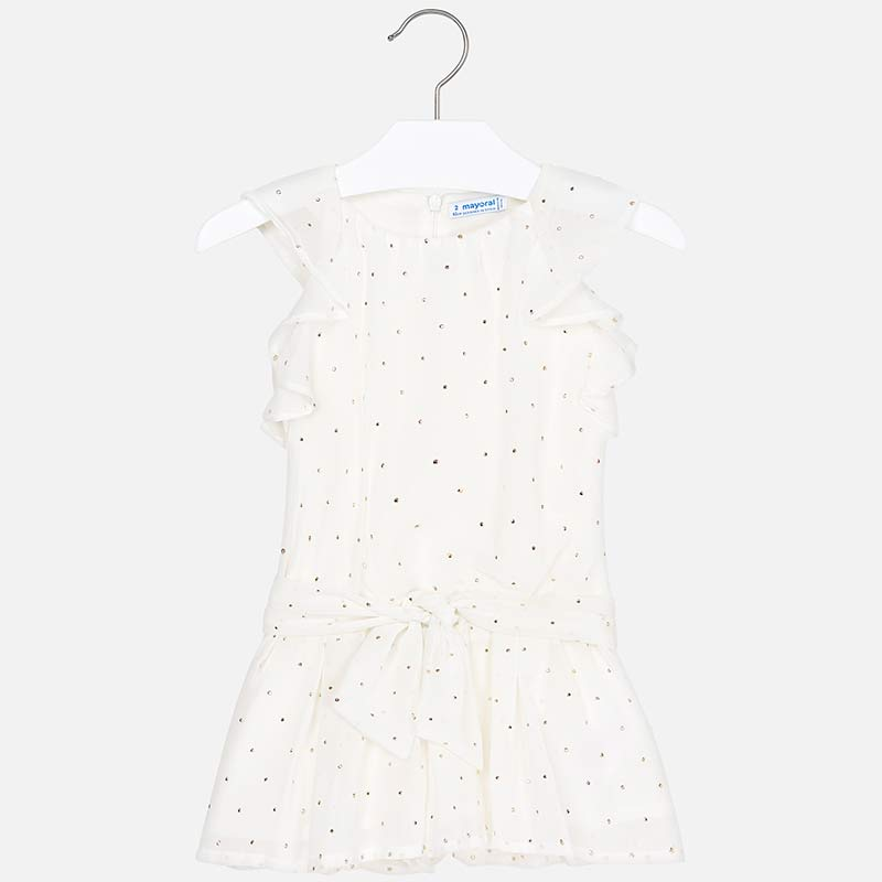 df1d80d4de Chiffon playsuit with studs for girl Off white - Mayoral