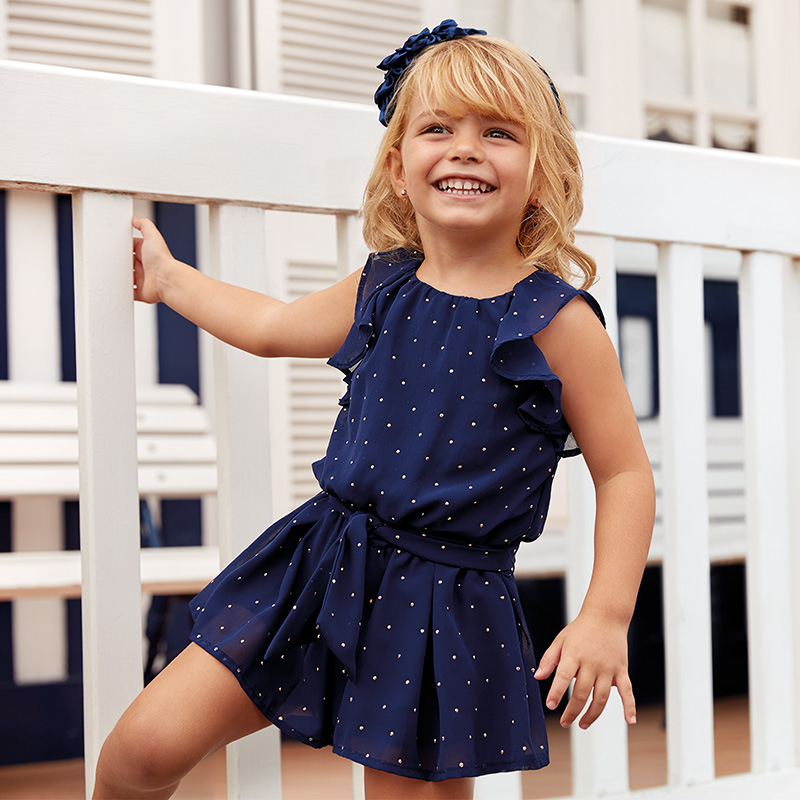 37ed333e4a Chiffon playsuit with studs for girl Navy blue - Mayoral