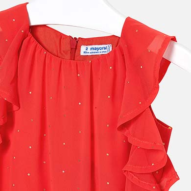 4bce9e3c72 Chiffon playsuit with studs for girl Persimmon - Mayoral