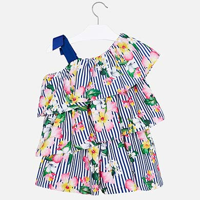 5e79e31d82 Patterned playsuit with ruffles for girl Nautical - Mayoral