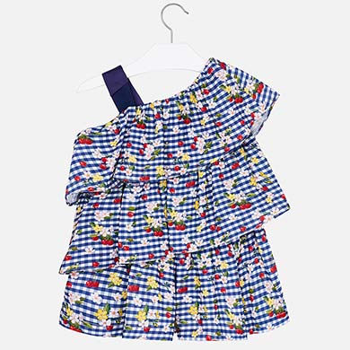 15f9161f72 Patterned playsuit with ruffles for girl Blue - Mayoral