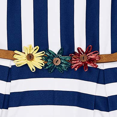 dc1cbf11fc Striped playsuit with belt for girl Nautical - Mayoral