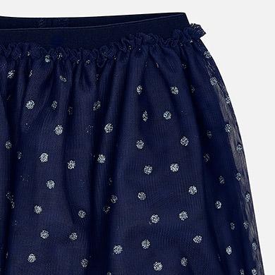 Tulle glitter polka dot skirt for girl Navy blue - Mayoral