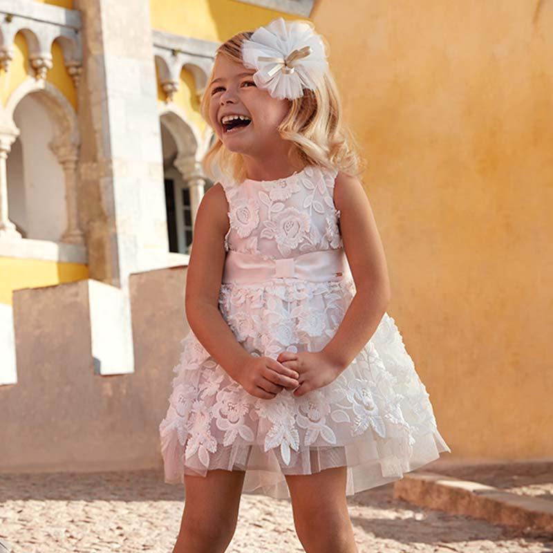 Vestito in tulle fiori in rilievo bambina Panna