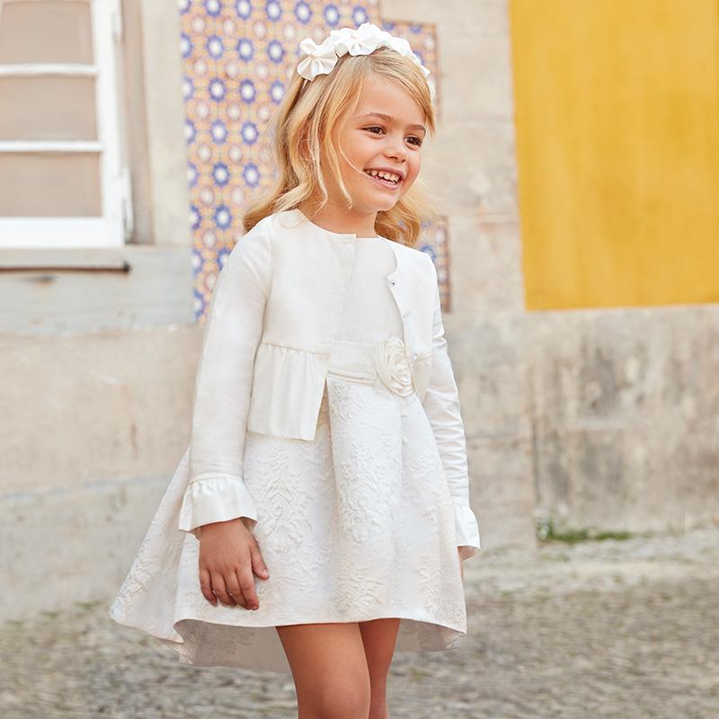Vestito cerimonia fiore mini bambina Panna