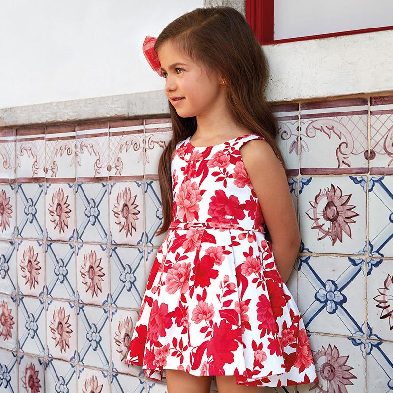 a61542b5a Vestido tablas estampado flores niña Rojo - Mayoral
