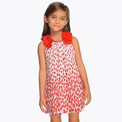 b062643db Vestido plisado aplique flores niña Rojo - Mayoral