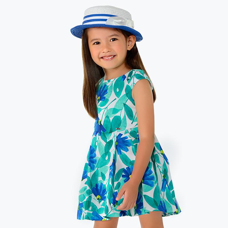 dffe93d1a5c4 Vestito stampato fiori bambina Blu intenso - Mayoral