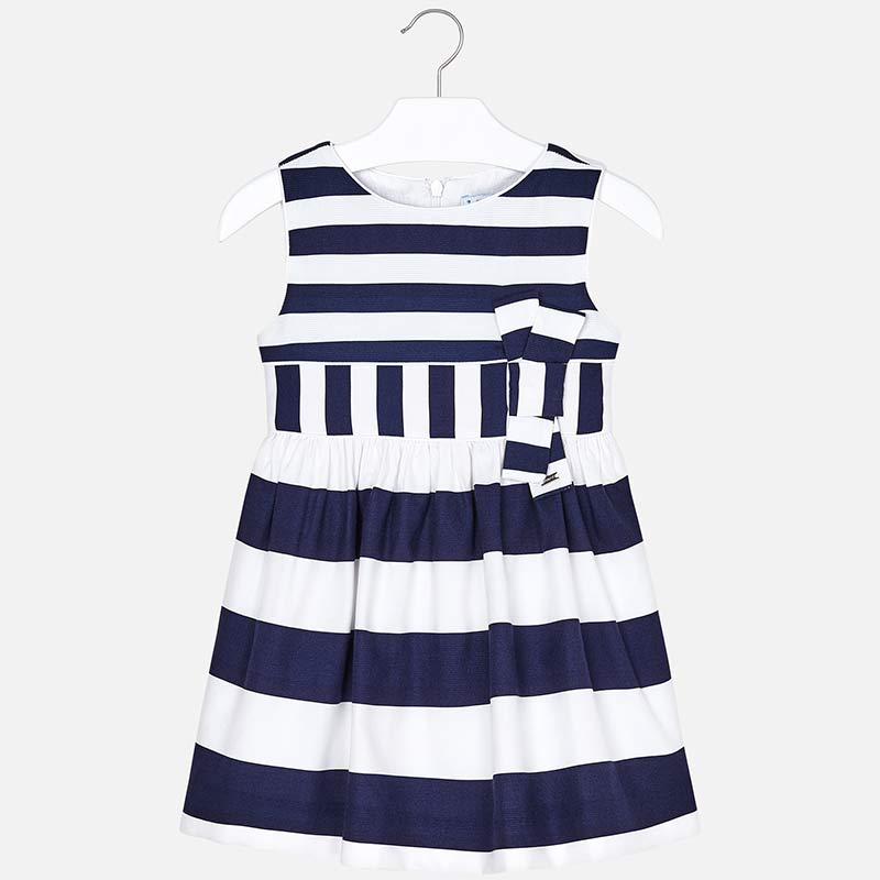 68c082f08bf6 Striped dress with bow for girl Navy blue - Mayoral
