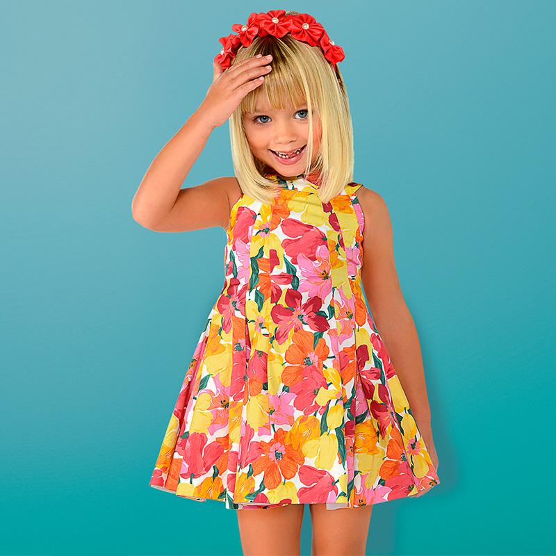 4d37d7ab2 Vestido tirantes floral mini niña Coral - Mayoral