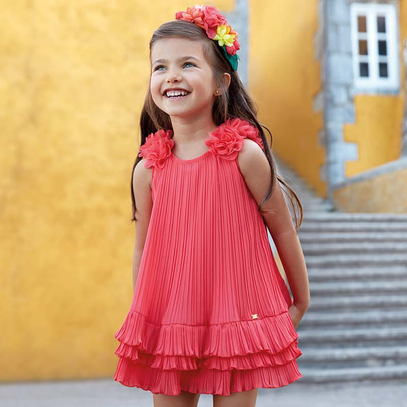 0e3c7676b570 Φόρεμα πλισέ με βολάν κορίτσι Κοραλί - Mayoral