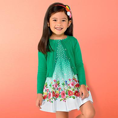 Vestido lunares cenefa floral niña 38c13ef24bc1
