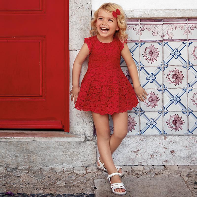 7b8246ea8d Koronkowa sukienka dla dziewczynki Czerwony - Mayoral
