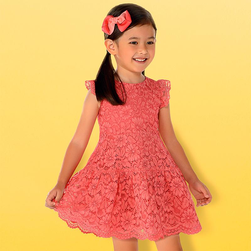 6d4456f34 Vestido encaje niña Coral - Mayoral