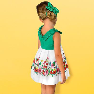 Vestido combinado cenefa floral niña 7613863236ee