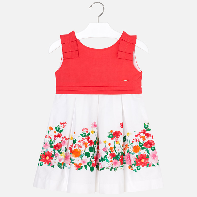 dfedceff4b1 Dress with floral border for girl Coral - Mayoral