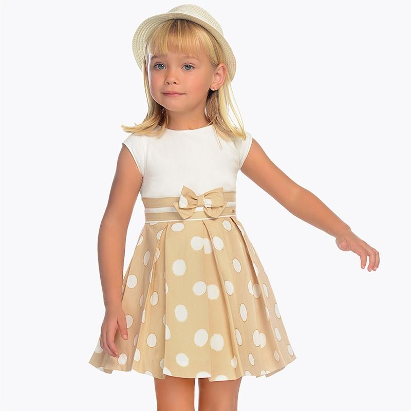863d4dc58 Vestido lunares contraste niña Tostado - Mayoral