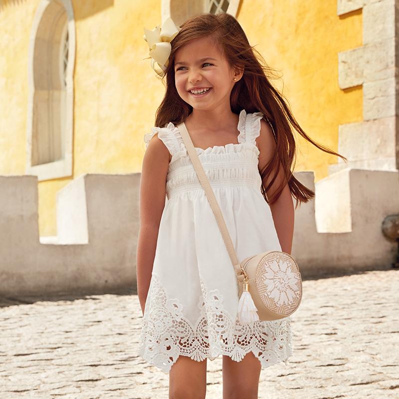 198b403e8 Vestido tirantes bordado niña Crudo - Mayoral