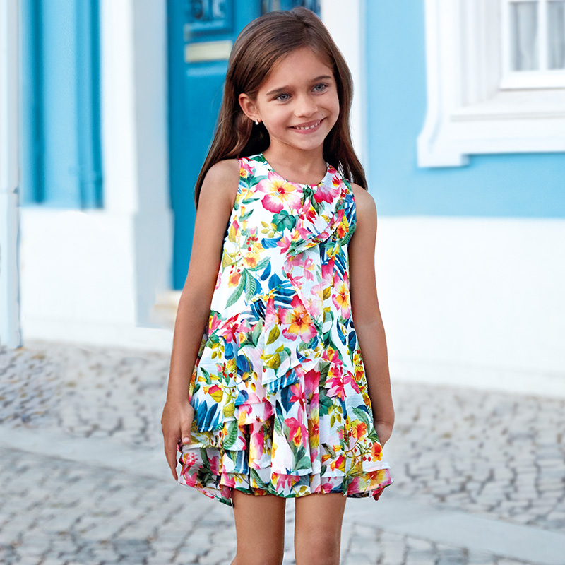 65b3e4ccec Tropical patterned dress for girl Nautical - Mayoral