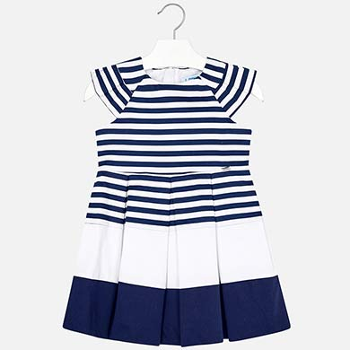 8177ccadd9d8 Φόρεμα πιέτες ριγέ κορίτσι Ναυτικό μπλε - Mayoral