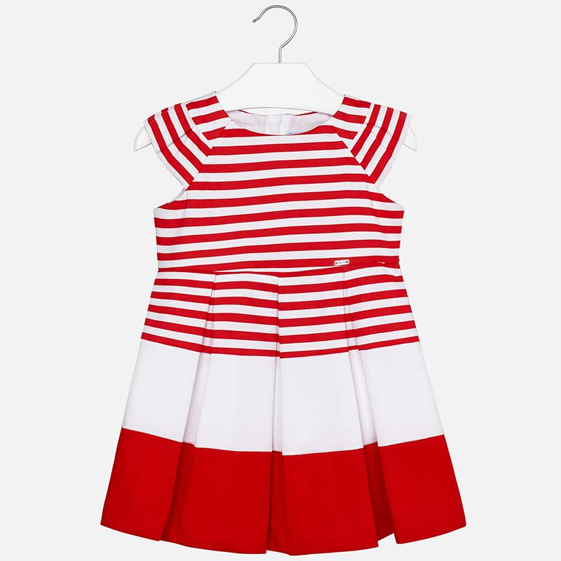 f968d1849a81 Vestito con pieghe a righe bambina Rosso - Mayoral