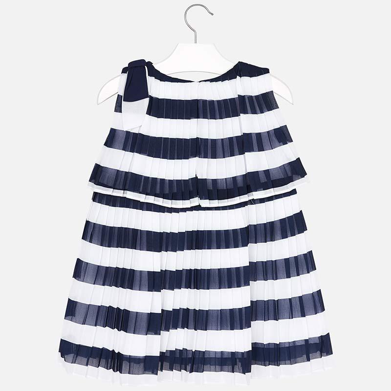 Plisowana sukienka w paski dla dziewczynki Granatowy