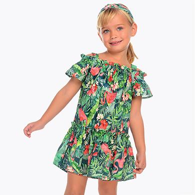 4c3e614b2efae Off-the-shoulder patterned dress for girl