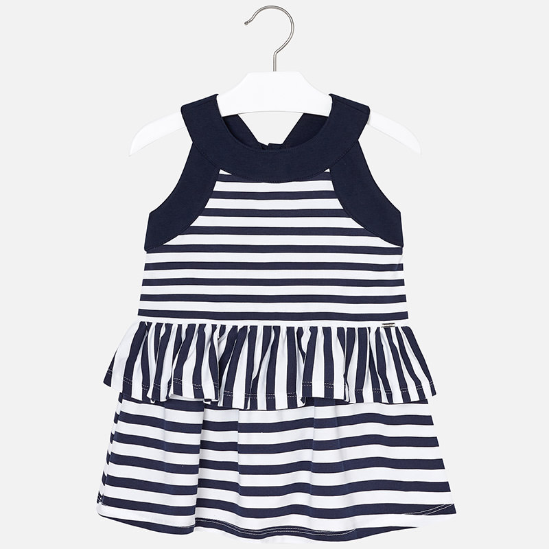 9c162bdb9ff3 Striped ruffle dress for girl Navy blue - Mayoral
