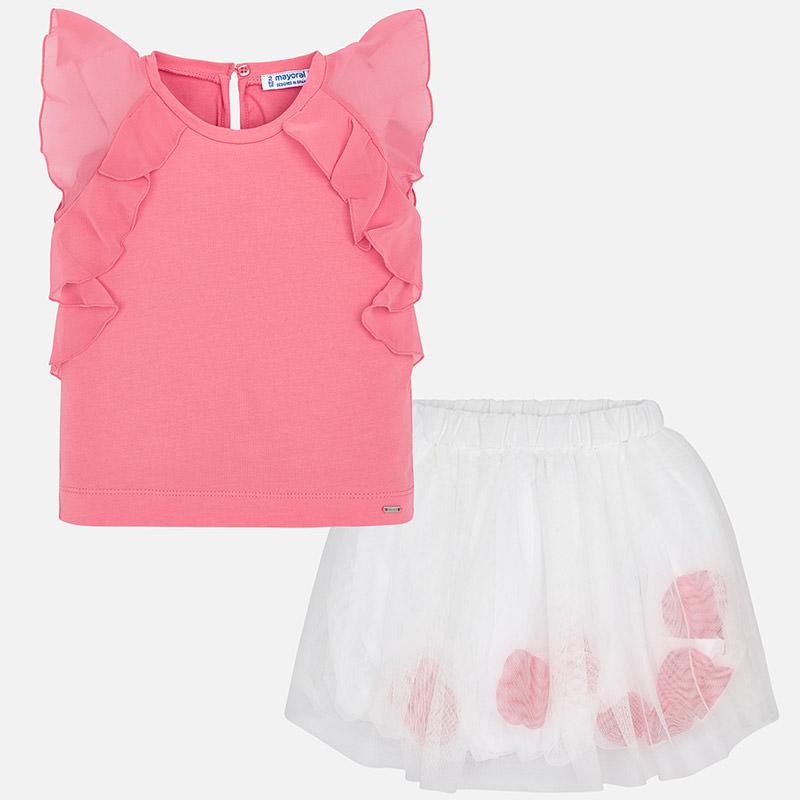 41ff7ebbe Conjunto camiseta y falda tul pétalos niña Chicle - Mayoral