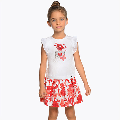 26420a6ad4 Floral t-shirt and skirt set for girl