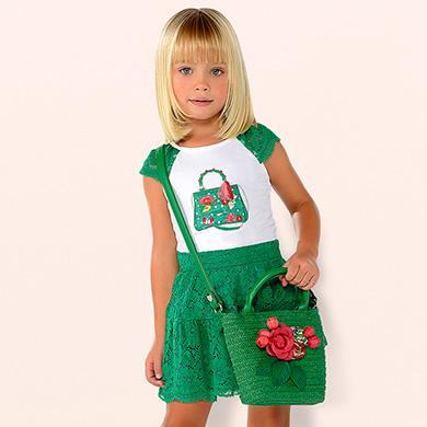 96368892d Conjunto camiseta y falda encaje niña