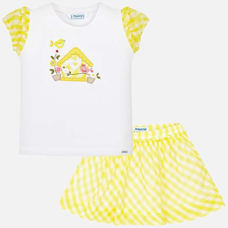 ec38ce70b Conjunto camiseta y falda vichy niña Amarillo - Mayoral