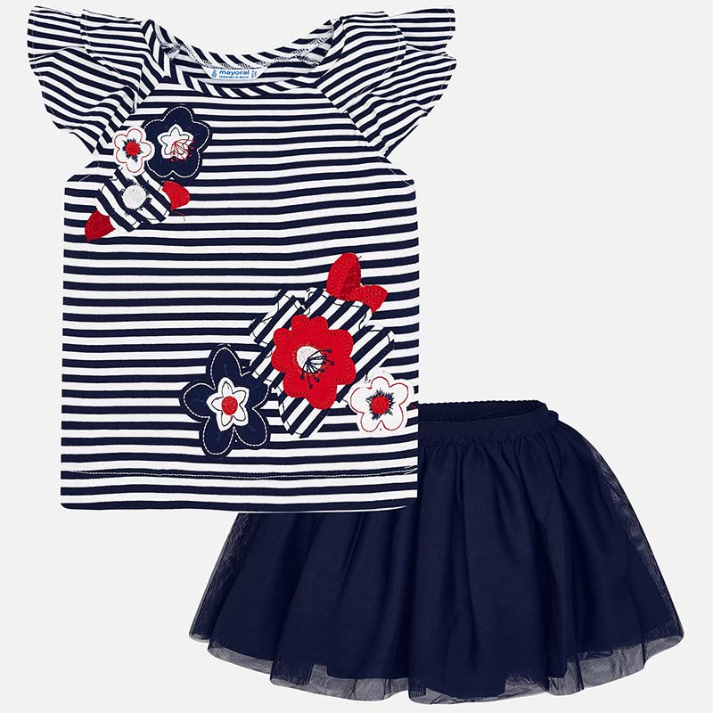 c0fed47a2 Striped t-shirt and tulle skirt set for girl Navy blue - Mayoral