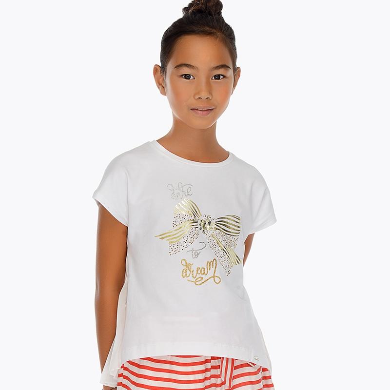 e50ed0bc764 Μπλούζα κοντομάνικη φιόγκος κορίτσι Λευκό - Mayoral