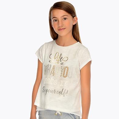 3c962c8c2 Camiseta manga corta abertura trasera niña