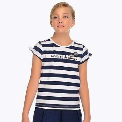 571a9c890d29 Μπλούζα κοντομάνικη ρίγες κορίτσι Ναυτικό μπλε - Mayoral