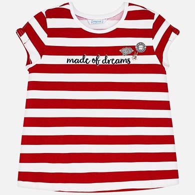 a226bd1f7048 Μπλούζα κοντομάνικη ρίγες κορίτσι Κόκκινο - Mayoral
