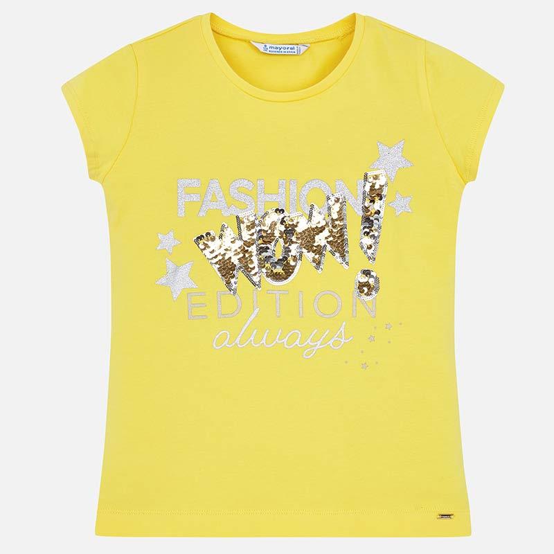 96cf475e3c21 Μπλούζα κοντομάνικη σχέδιο μπροστά κορίτσι Κίτρινο - Mayoral