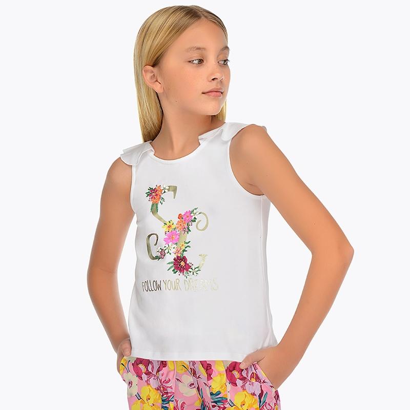 ce77085d49f5 Camiseta tirantes volante trasero niña Blanco - Mayoral