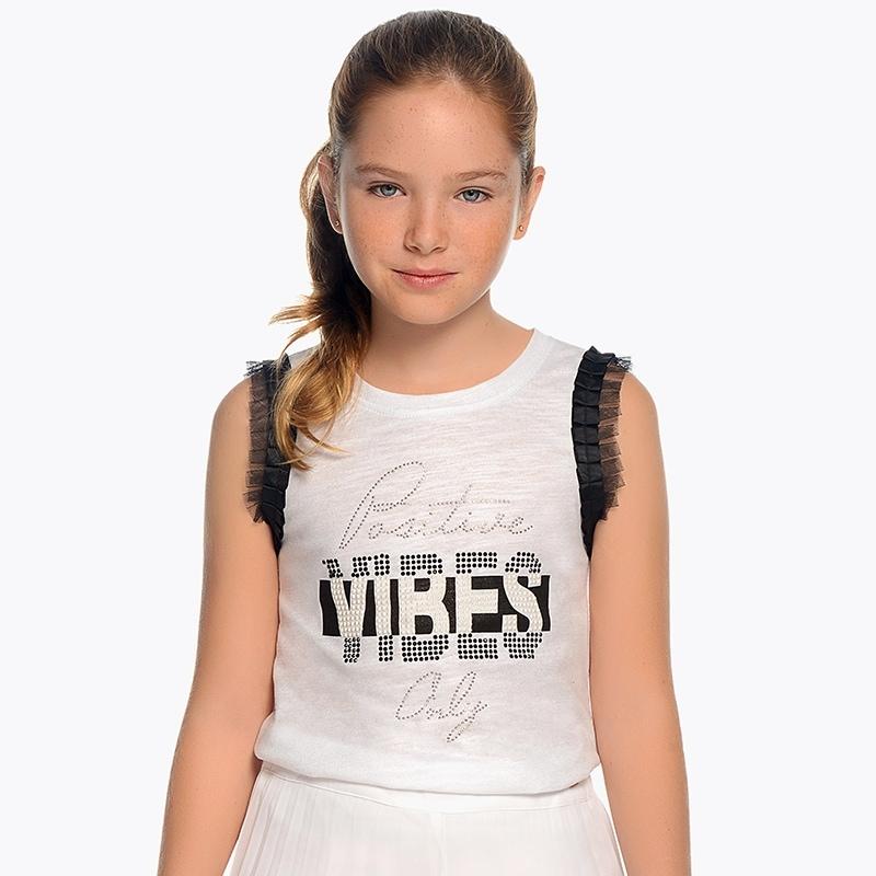 4727c758639 Μπλούζα τιράντες VIBES κορίτσι Άσπρο-Μαύρο - Mayoral