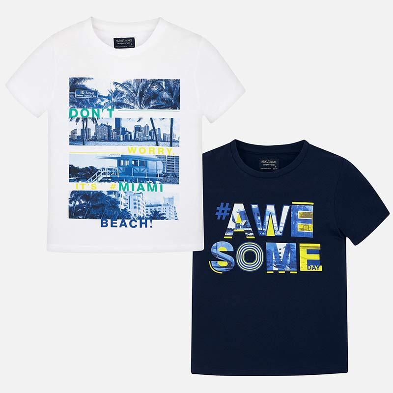 432e0d0476de Σετ μπλούζες κοντομάνικες στάμπα αγόρι Ναυτικό μπλε - Mayoral