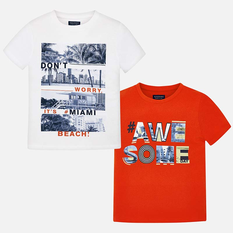 Σετ μπλούζες κοντομάνικες στάμπα αγόρι Πορτοκάλι - Mayoral 9b884053037