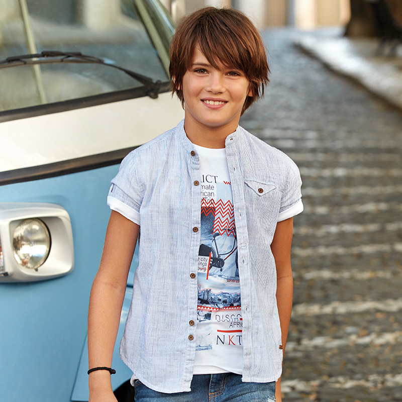 95ed62ff6 Camiseta manga corta A-District niño Cream - Mayoral
