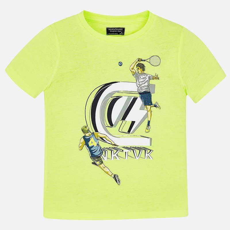 af4f2eb5c7de Μπλούζα κοντομάνικη λογότυπο αγόρι Λάιμ νέον - Mayoral