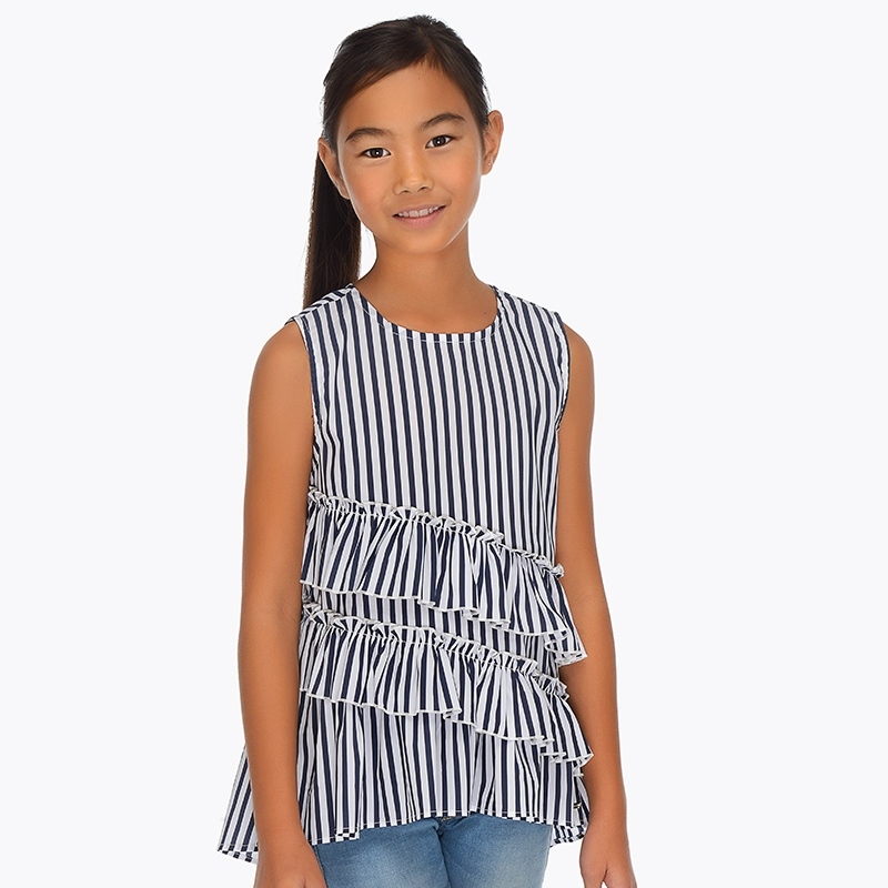 697c41e09401ef Asymmetric ruffle blouse for girl Navy blue - Mayoral