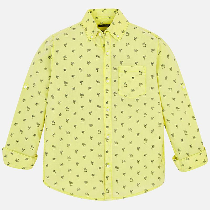 aadb28bcd Camisa manga larga lino estampada niño Limón - Mayoral