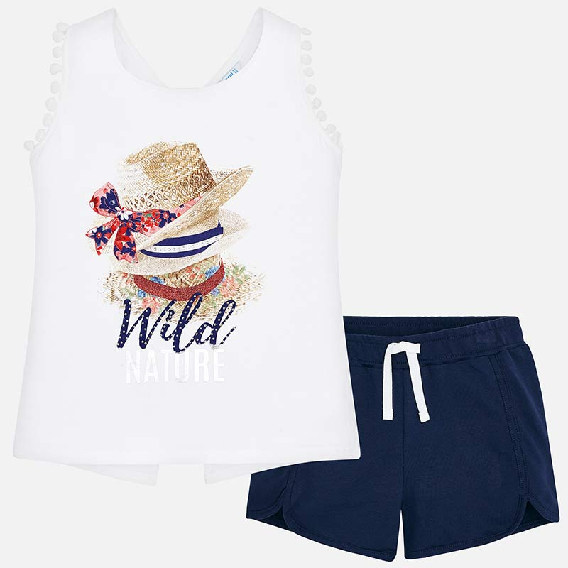 719163e76 Hat print t-shirt and shorts set for girl Navy blue - Mayoral