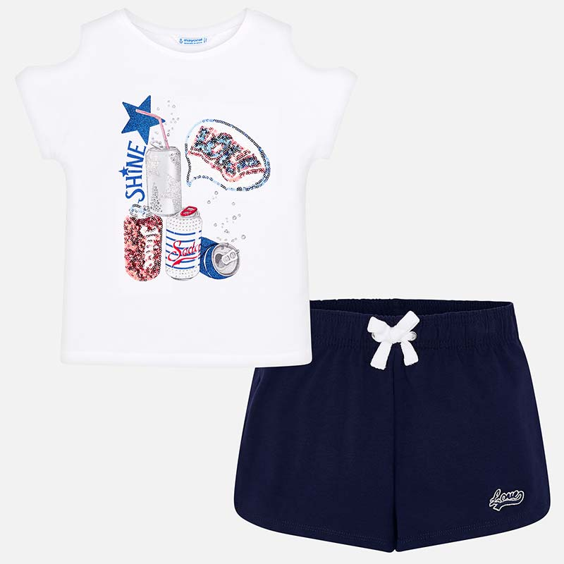 2970d3bd9 Sporty t-shirt and shorts set for girl Navy blue - Mayoral